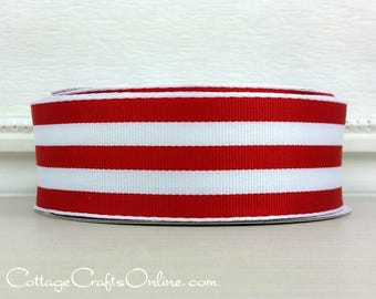 "Wired Ribbon, 1 1/2"" , Red and White Stripe - TWENTY FIVE YARD Roll - Offray ""Carnival Red"", Grosgrain Style, Christmas Wire Edged Ribbon"