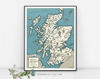 SCOTLAND MAP PRINT - charming vintage picture map of Scotland - lovely print to frame in 3 sizes and 16 color choices - may be personalized