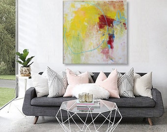 large abstract painting Yellow green red art Square Modern palette knife painting 36""