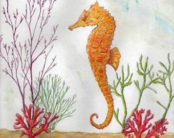 Seahorse Original watercolorpainting