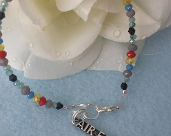 Multicolor Crystal bracelet with Air Force charm/FREE SHIPPING to U.S.
