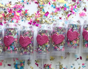 Set of 5 - Confetti Popper - Party Favors - Blank or Heart