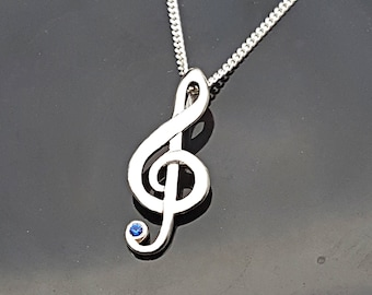 Treble Clef Necklace, Music Jewelry, Treble clef charm pendant, Music Note Necklace, Silver Treble Clef Pendant set with gemstone