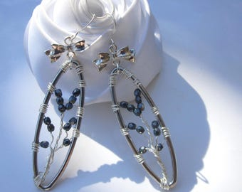 tree of life earrings hematite artistic wire color