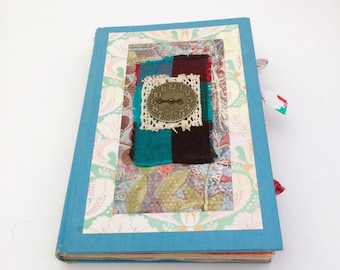 Altered Book Journal, Junk Journal, Vintage Book Diary, Light Blue Journal, Sister Birthday Gift, Mixed Pages Journal, Memory Keeping