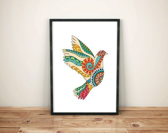 Dove of Peace, Bird Poster, Bird Print, Pigeon Print, Instant Download, Hippie Decor, Poster Vintage, Hippie Poster, Printable Wall Art