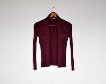 Vintage Plum Purple Stretchy Ribbed Knit Open Cardigan Sweater