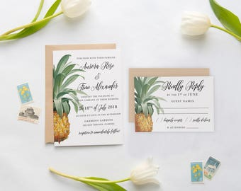 Pineapple Wedding Invitations, Tropical Wedding Invitations, Wedding Invitation, Pineapple, tropics, gold