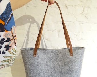 Shopper in Felt and leather