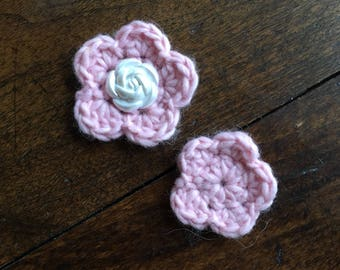 Crochet Floral embellishments made with alpaca blend yarn