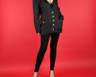 Linen Jacket // Vintage Black Linen Blazer // 80s Jacket 80s Black Blazer 80s Black Jacket 100% Linen Cue Gold Buttons Size Small S