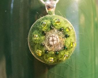 "OOAK Needle Felted Kaleidoscope Pendant  - ""Nature Lover"""
