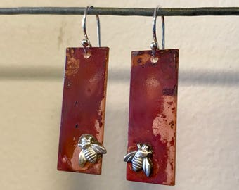 Oxidized Copper and Sterling Silver Bee Earrings