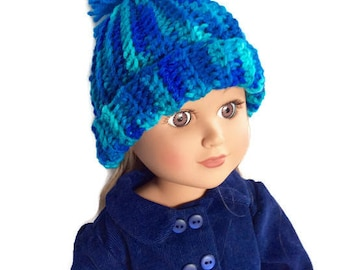 Teal Doll Hat, Variegated Crocheted Doll Hat with Dark Teal Pom-Pom, 18 Inch Doll Hat, Winter Doll Clothes