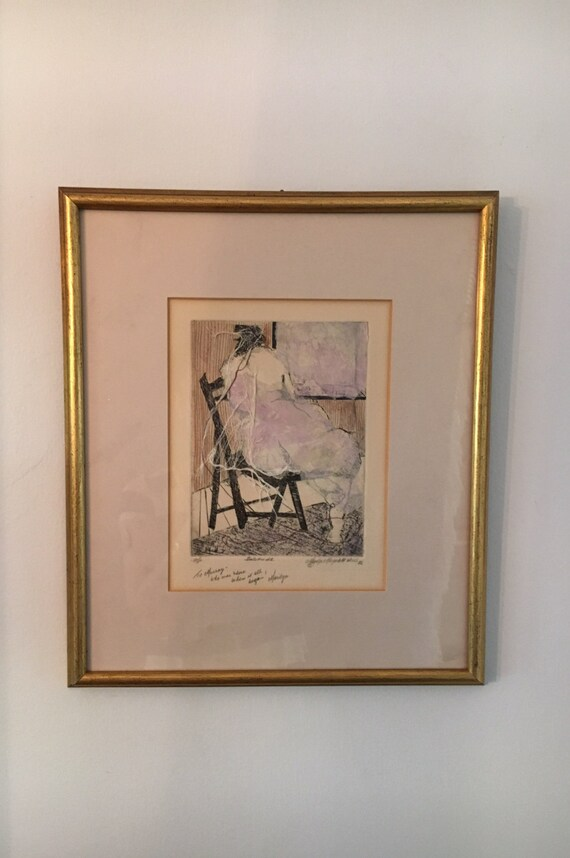Marilyn Magaliff Weiss Original Artist Proof Solitude Mixed Assemblage Collage Circa 1982 with Signature and Note by Artist FREE SHIPPING!
