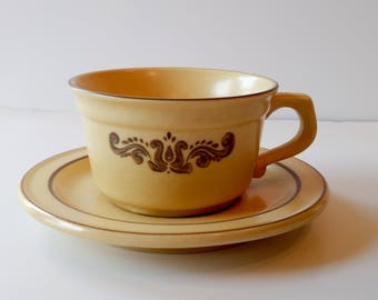Vintage Flat Cup & Saucer Set in Village (Made in USA) by Pfaltzgraff