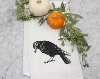 Flour Sack Tea Towel - Crow - Cotton Dish Towel - Hand Screen Printed Dishcloth - Eco-Friendly Kitchen Towel - Halloween Decor - Raven