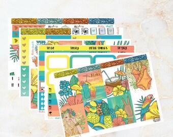 """Full (or Mini) Erin Condren Vertical Sticker Kit """"ALOHA"""" - summer - tropical - aloha"""