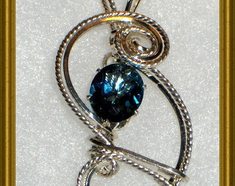 Blue Topaz Sterling Silver Pendant with FREE Chain