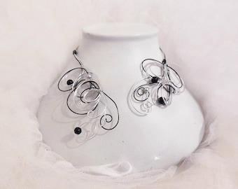 Silver Black wedding necklace