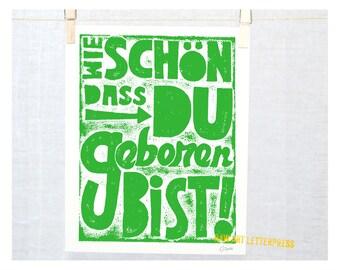 GERMAN, Baby Birthday, Geburtstag, German Baby Nursery, Kinder,  German Language, Wall Art