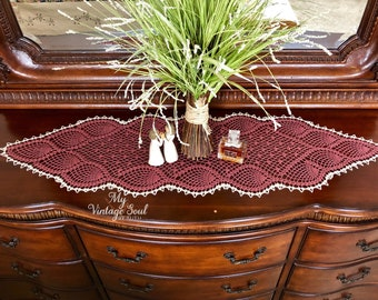 Crochet Table Runner - Farmhouse Doily - Crochet Lace Doily - Mantle Scarf - Wedding Gift - Kitchen Decor - Dresser Scarf - Rustic Doily