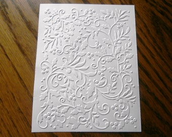 SUGARPLUM BALL Holly and Berries Embossed Card Stock Panels Perfect for Scrapbooking and Card Making - Set of 12