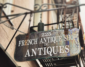 """New Orleans Art Print, French Quarter Photography """"French Antique Shop"""" Street Sign Picture 8x10, 11x14, 16x20, 20x24, 24,30, 24x36+"""