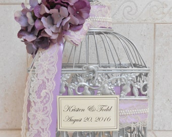 Silver and Purple Pearl Wedding Birdcage Card Holder | Wedding Card Box | Spring & Summer Wedding Decor