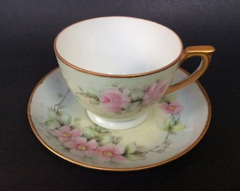 Vintage Tea Cup and Saucer/ Porcelain Tea Cup/ Pastel Colors Tea Cup/ A.K.51/ Pink Rose Tea Cup/ Tea Parties/ Hand Painted/ Collectible/