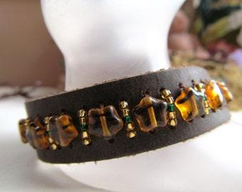 Leather Cuff Beaded Bracelet