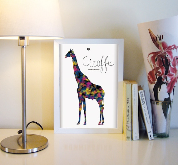 Wall art decor. Picture giraffe. Fingerprint. Illustration. Printable art. Digital print. Instant digital download