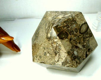 Paperweight, Geometric Stone, 1990s Desk Item, 14 Sided HEAVY Office Valentine Fathers Day Gift, Solid Polished Fossil Jasper Maybe