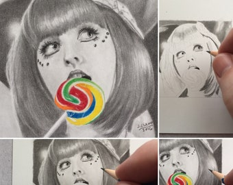 Original miniature pencil drawing done by me