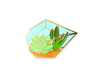 Succulent terrarium enamel pin (hard enamel pin lapel pin badge enamel jewelry cute cactus jewelry succulent pin backpack pins)