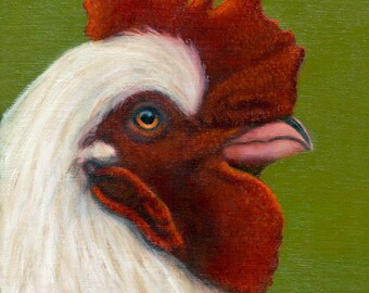 Rooster Painting - Rooster Art - Chicken Painting - Original Oil - Animal Art - Proceeds Benefit Animal Charities