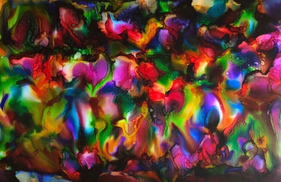"""Large Original Alcohol Ink Abstract: """"Where Love Grows..."""" (23 x 35"""")"""