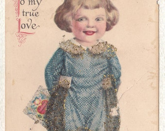VALENTINE POST CARD, Wolf Co., Divided Back, 1920's, Glitter, Antique, Vintage Greeting