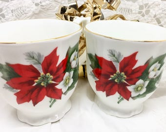2 Royal Vale Mugs, Poinsettia Pattern Bone China, Gold Trim, Made in England, Christmas