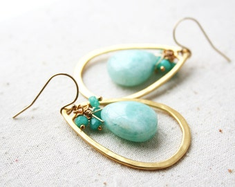 Light Green Earrings, Gemstone Jewelry, Pastel Earrings