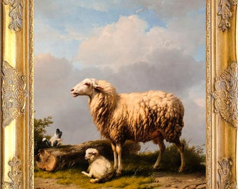 Gorgeous Pastoral Sheep Art Print, Framed, Print on Canvas