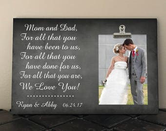 Personalized Free, WEDDING gift for PARENTS of the Bride and/or Groom, For All That You Have Been To Us For All That You Have Done   fa03