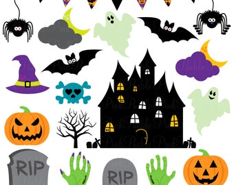 Halloween Clipart Clip Art, Great for Halloween Decor or Decorations - Commercial Use