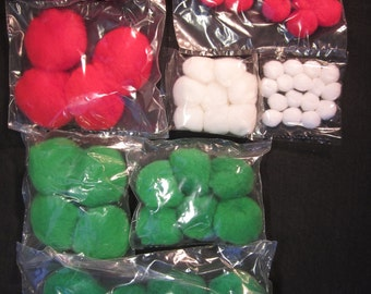 "70 pom poms, Christmas green, red, white, 1/2"", 1"", 1 1/2"", 2"", for crafts, vintage stock, USA"