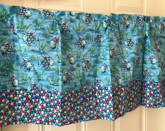 The Rainbow Fish blue shimmer fish with scales border Curtain Valance