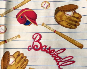 """Baseball Cotton Fabric - 2 Yards Remnant 45"""" Wide - Fabric with Baseball Gear Print - Baseball Lover Fabric - Sports Fabric - Novelty Fabric"""