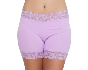 Lavender Biker Shorts Lace Trim Spandex Underwear Modesty Shorties No Chafe
