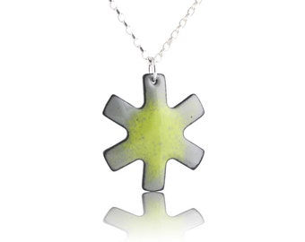 Asterisk Necklace - Green and Gray Enamel