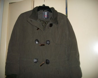 Vintage 90s Olive Drab Jacket with Toggle Buttons Size L