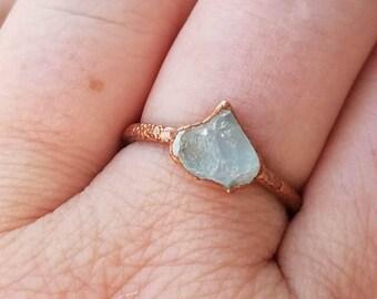 Aquamarine Ring Copper Electroformed Ring Size 6